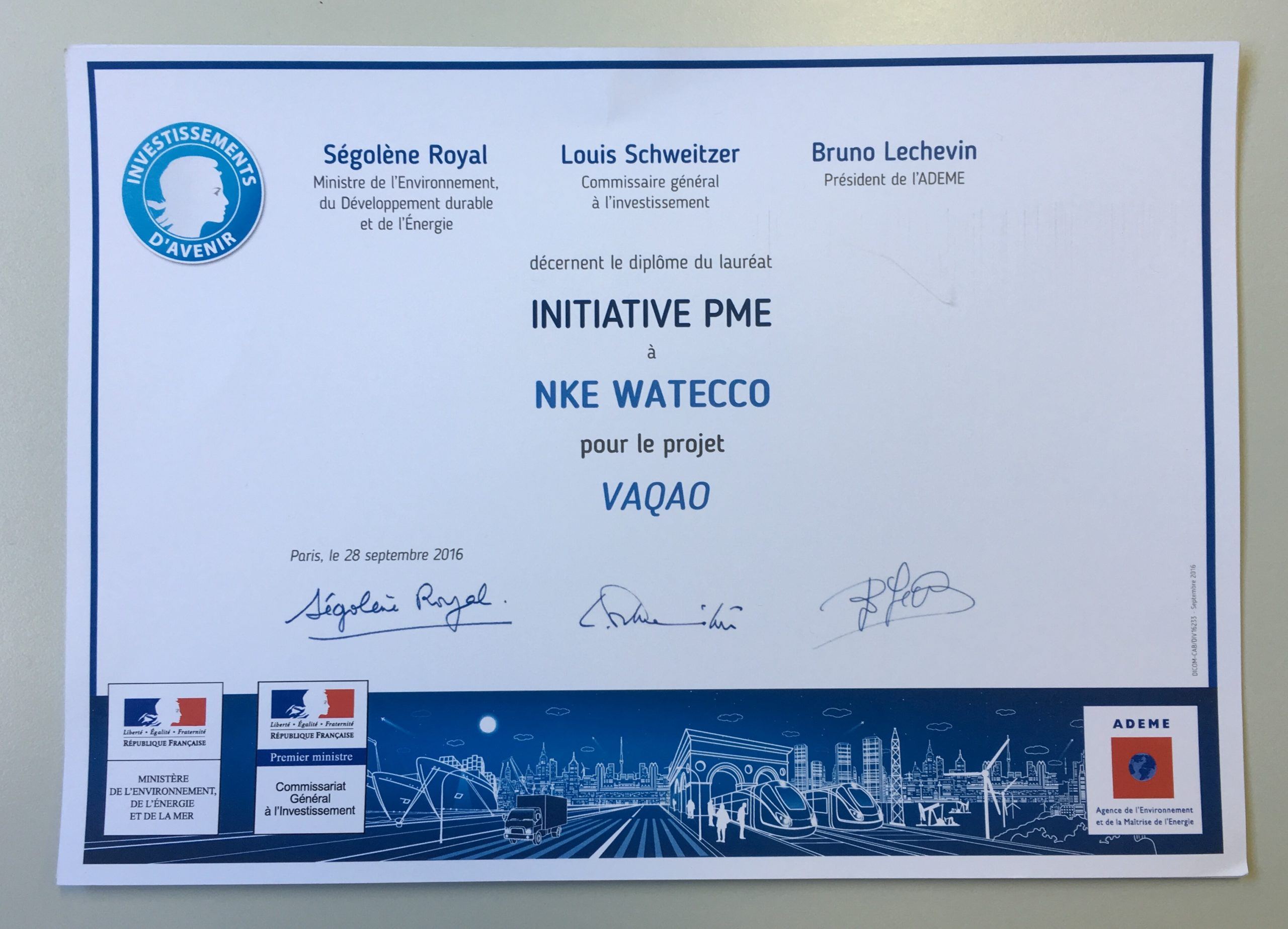 Projet VAQAO : lauréat Initiative PME